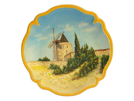 Windmill Art Wall Decor Plate, Vintage French Provence Pottery Souvenir
