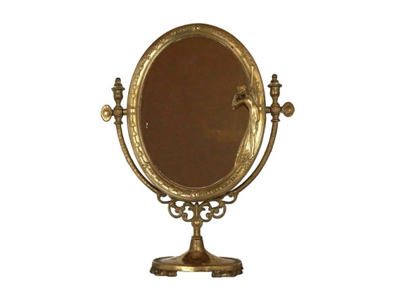Brass Standing Vanity Mirror with Woman Figurine, Adjustable Art Nouveau Style
