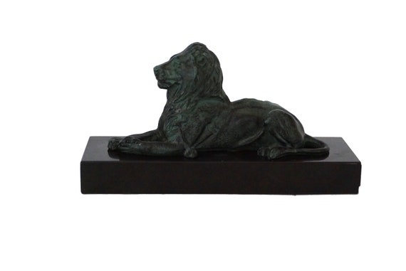 French Reclining Lion Statue on Pedestal Base, Animal Figurine Decor
