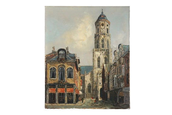 Church Clock Tower Painting of Saint Gummarus in Belgium, Vintage Architectural Art