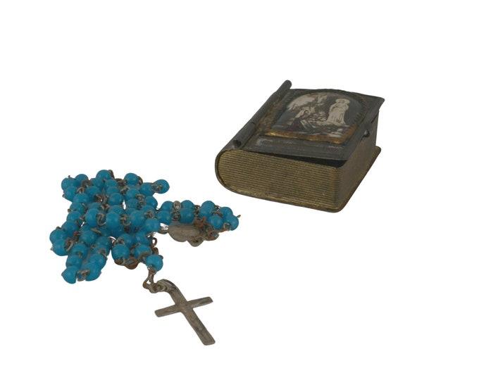 Antique Miniature Bible Rosary case, Our Lady of Lourdes Catholic Book Souvenir
