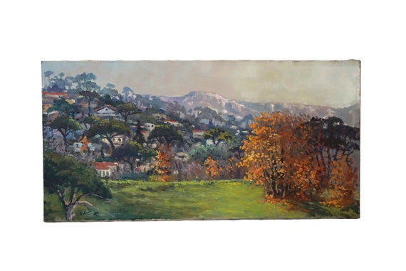 French Fall Landscape Painting with Village, Panoramic Country Wall Art