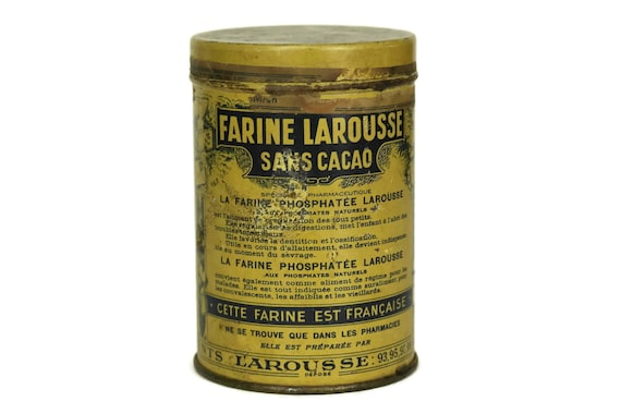 Vintage French Medicine Tin Box, Farine Larousse Medical Canister, Metal Drug Container, Apothecary Cabinet Decor