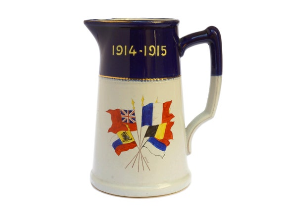 WWI Military Collectible Stoneware Pitcher with Flags, French Pottery Jug