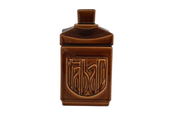 Mid Century Ceramic Tobacco Humidor Jar, French Pottery Canister Gift For Smoker