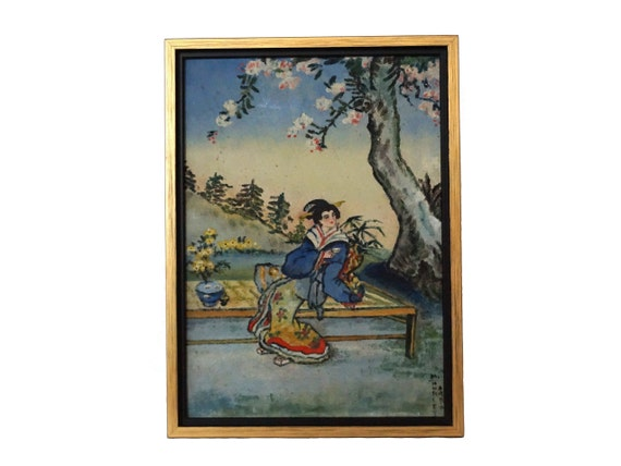 French Art Deco Geisha Portrait Painting, Antique Japanese Woman and Cherry Blossom Art
