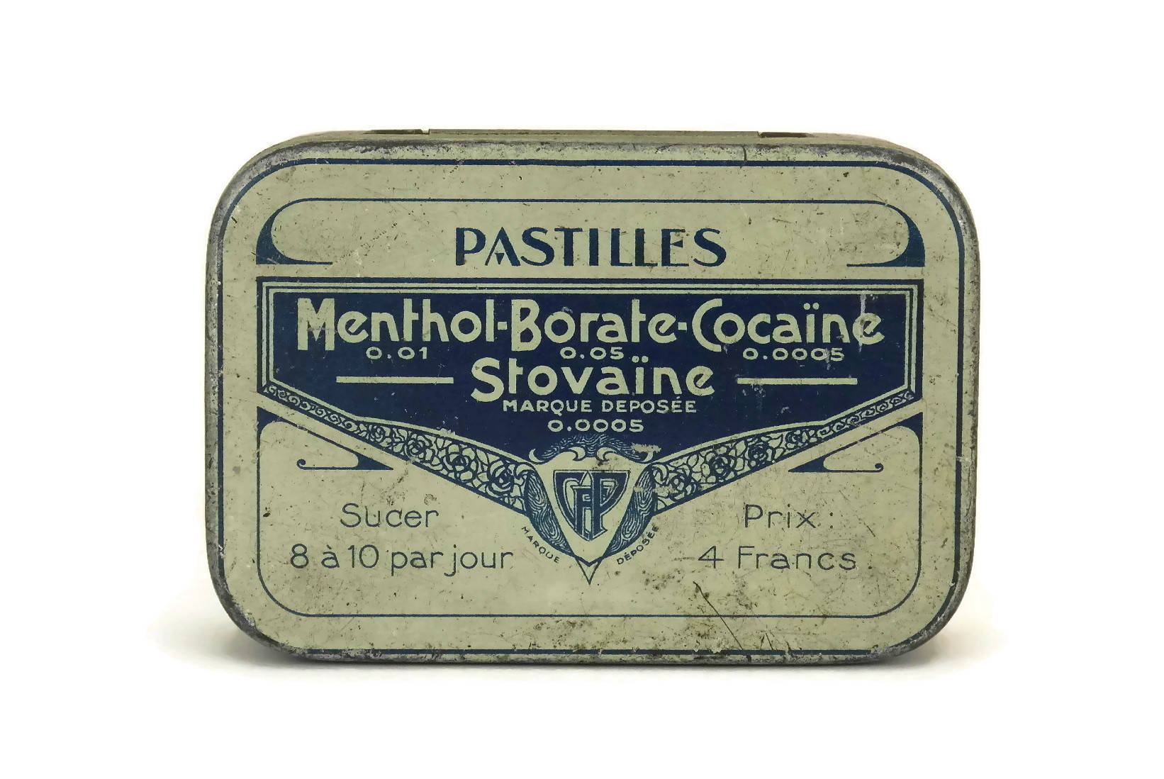 Antique French Medicine Pill Box. Menthol Borate Cocaine Stovaine Medical  Tin Box. Metal Drug Box. French Apothecary Cabinet.