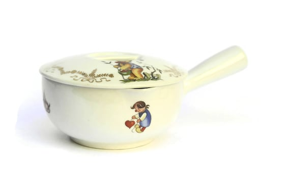 French Porcelain Baby's Feeding Bowl with Teddy Bear. Vintage Limoges Porcelain Dish. New Born Gift.