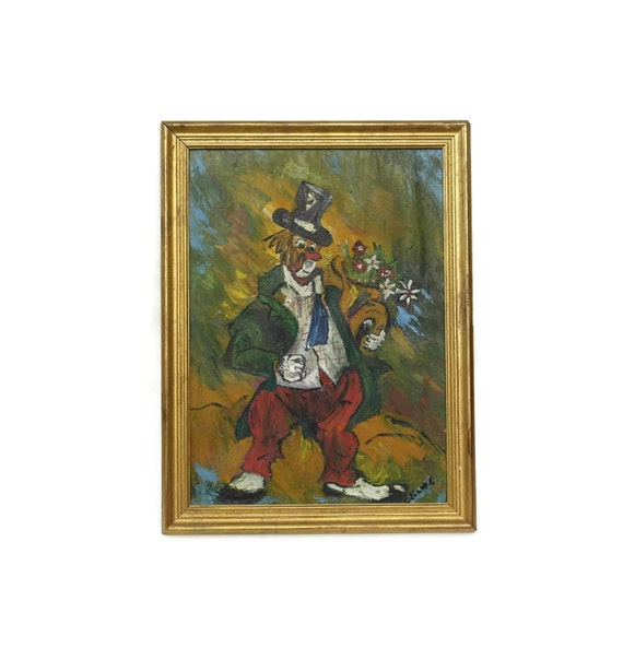 Mid Century Clown Oil Painting in Gold Frame