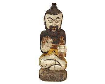 Vintage Hindu God Carved Wood Temple Figurine, Bali Souvenir Statue, Spiritual Asian Home Decor