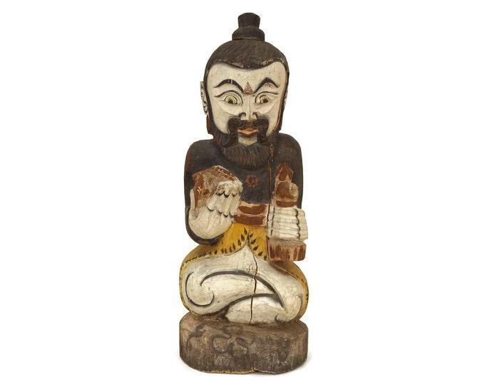 Hindu God Carved Wood Temple Statue