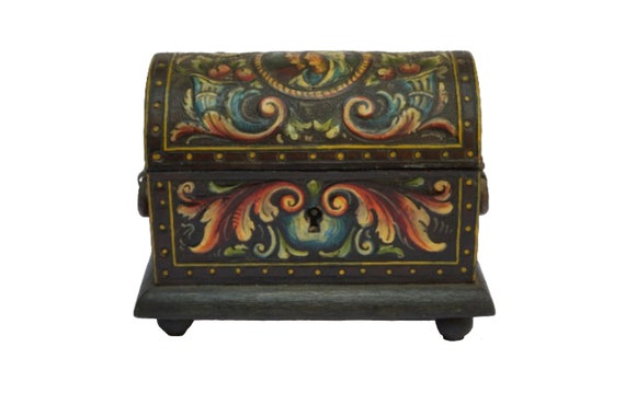 Tooled Leather Wood Jewelry Casket, Wooden Treasure Box