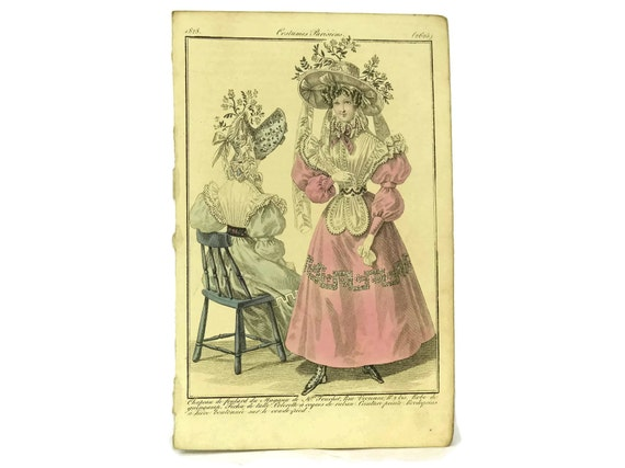 Antique French Fashion Illustration Engraving,  Plate from Costumes Parisiens, Ready To Frame Art, Fashionista Gift