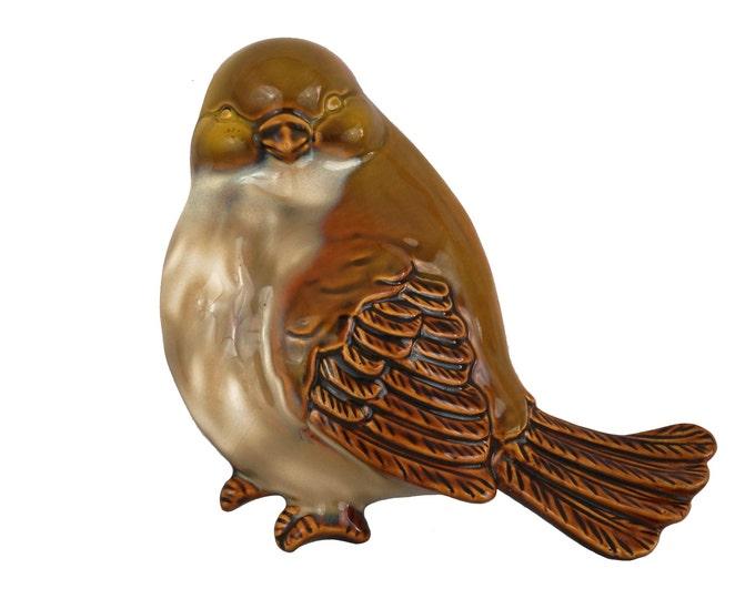 Mid Century Ceramic Sparrow Figurine, French Pottery Wall Hanging Bird Decor