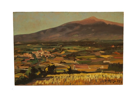 Vintage Provence Country Landscape Painting, Mount Ventoux Original French Mountain Art