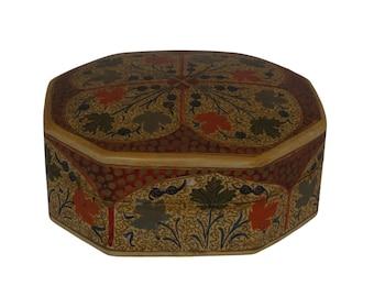 Indian Paper Mache Jewelry Box, Hand Painted Folk Art Flowers, Asian Home Decor