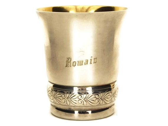 French Antique Silver Baby Cup with Personalized Romain Engraving