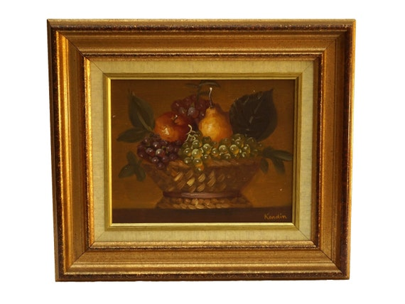 Vintage French Fruit Basket Painting, Original Still Life Art, Country Home Wall Decor