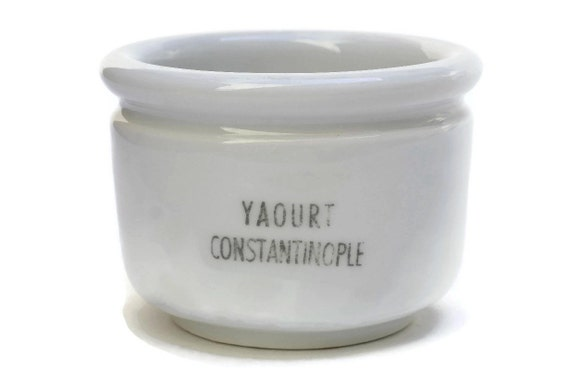 Ironstone Yogourt Pot with French Advertising for Yaourt Constantinople, Antique Jam Jar, White Ceramic Bowl. Country Cottage Kitchen Decor