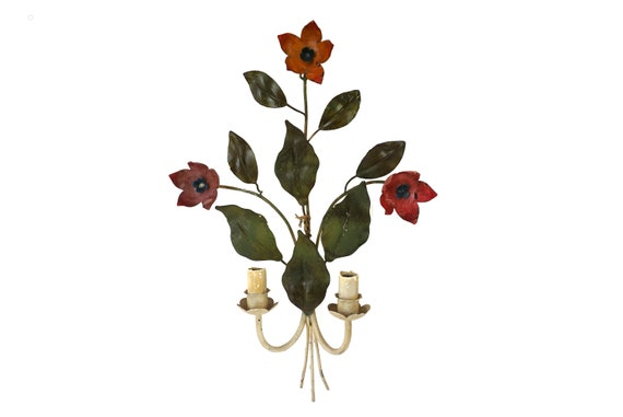 Tole Flower Wall Sconce Light Fixture, French Vintage Toleware Flower Candelabra