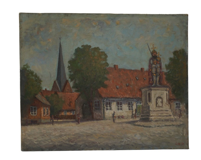 French Country Village Street Painting, with Church Steeple and King Statue with Scepter and Sword