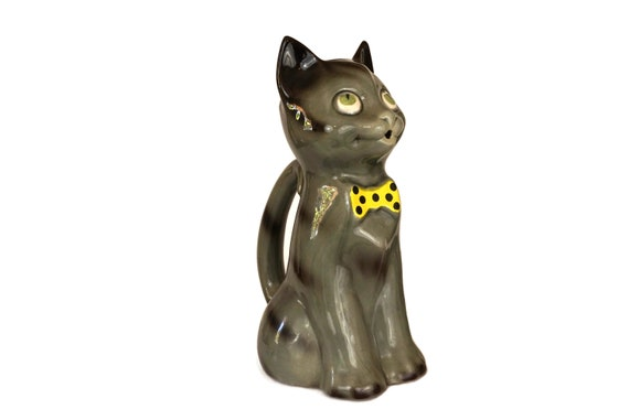 Vintage French Cat Water Pitcher, Glazed Ceramic Animal Jug, Kitty Figure with Yellow Bow Tie