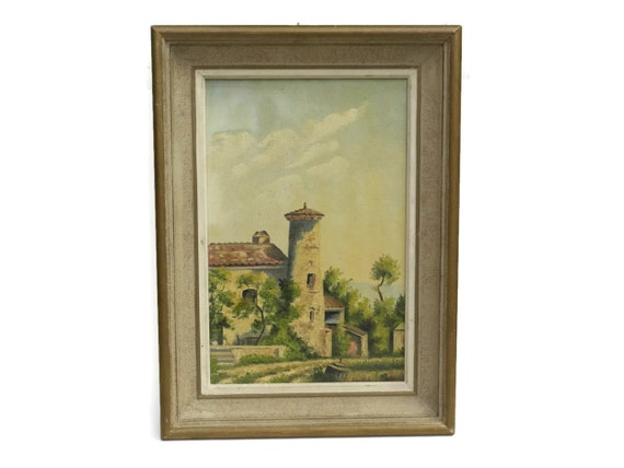 French Village Scene Painting, Provencal Country Landscape Art, Oil on Canvas, Rustic Home Decor