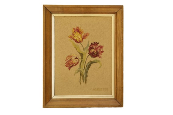 Antique French Aubusson Needlepoint Tapestry, Tulip Flower Wall Hanging Art
