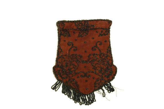 Antique Victorian Reticule Purse. Beaded Black and Orange Velvet Pouch Bag. Drawstring Handbag. French Fashion Gifts for Her.