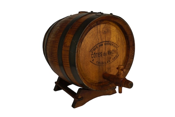 Wooden French Wine Barrel, Cotes du Rhone Bar and Wine Cellar Decor