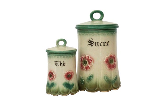 Antique French Ceramic Tea and Sugar Canister Set with Flowers,  Country Cottage Kitchen Storage Jars