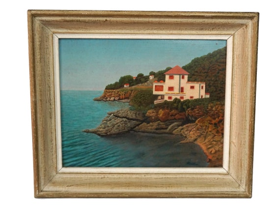 Mediterranean Coastal Landscape Painting, French Beach House Art