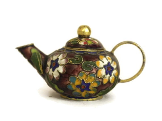 Miniature Cloisonne Teapot Collectible. Chinese Enamel and Brass Souvenir. Vintage Oriental Home Decor. Boho Gifts For Her.