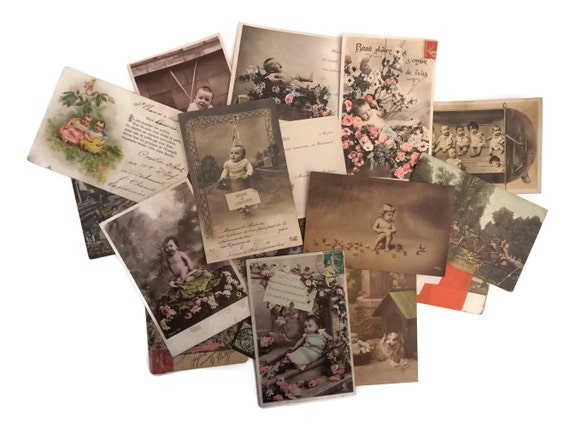 French Antique Baby Postcards, Collection of Old Newborn Announcement Cards,  Paper Ephemera and Nursery Wall Art