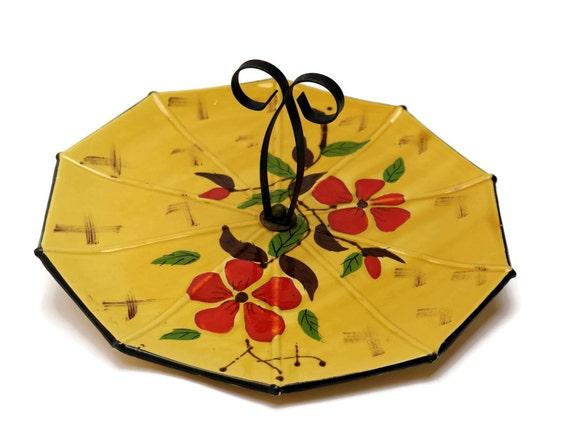 French Vintage Cheese Platter. Poet Laval Ceramic Cake Stand. Ceramic Umbrella.