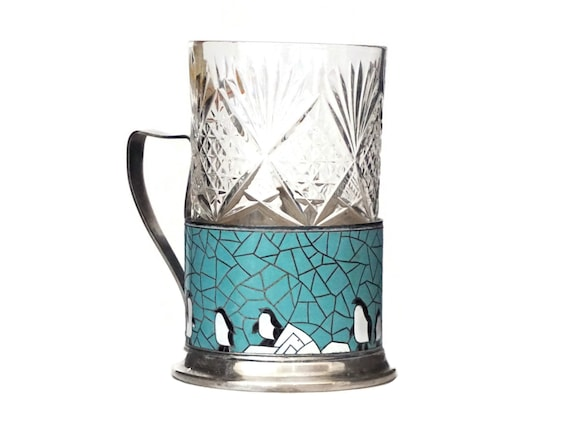 Russian Tea Glass with Penguins, Cup with Silver and Enamel Cloisonne Holder