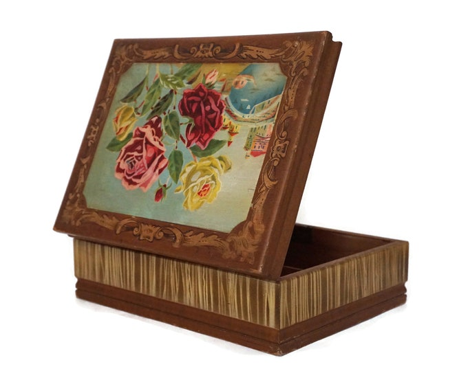 Art Deco Wooden Jewelry Box with Mirror and Roses, Antique Venice Souvenir