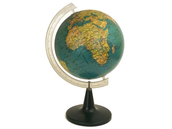 Vintage World Map Globe, 1960's Earth Model with Tulip Base by Bolis Bergame