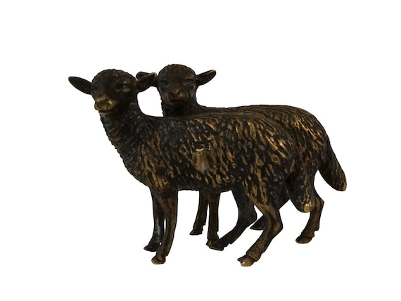Antique French Brass Sheep Figurines, Miniature Farm Animal