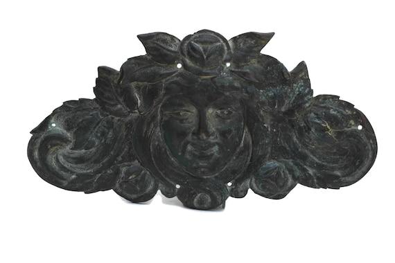 Art Nouveau Woman Face Wall Plaque. Antique Bronze Furniture Ornament with Lady Portrait. Hardware Molding Decoration. French Home Decor.