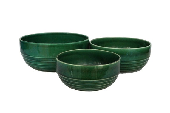 Green Ceramic Nesting Mixing Bowl Set, Vintage French Majolica Pottery Stacking Dishes