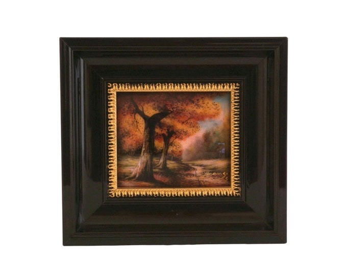 Miniature Limoges Enamel Wall Art, Fall Tree Country Landscape with Forest Path by J Grange