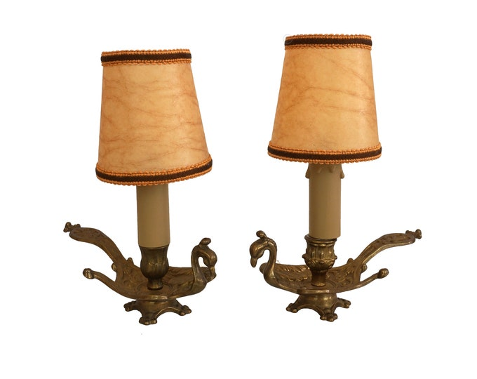 Brass Peacock Bedside Table Lamps, Pair of French Bird Figurine Candle Holder Chamberstick Lights with Handles