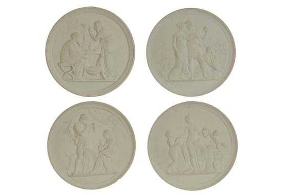 Royal Copenhagen Four Seasons Wall Plaques, Decorative Mythology Porcelain Wall Plates