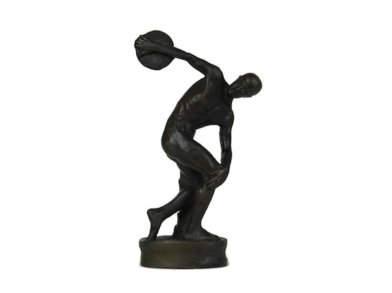 The Discobolus of Myron Bronze Statuette, The Discus Thrower Reproduction Figurine