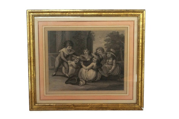 Antique French Children Portrait Engraving, 19th Century Framed Art Print, Nursery Wall Decor
