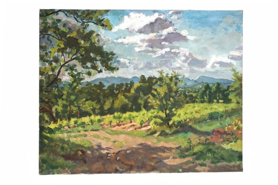 Provence Country Landscape Oil Painting with Mountain and Trees, French Wall Art