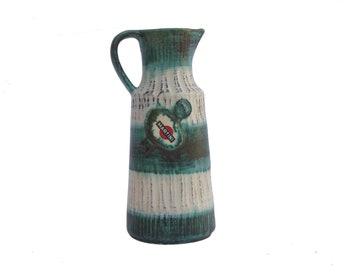 MCM Pottery Martini Pitcher, Vintage French Bar Decor and Advertising, Mid Century Ceramic Jug
