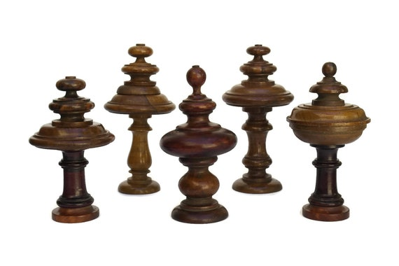 Antique Set of 5 Decorative Turned Wood Finials