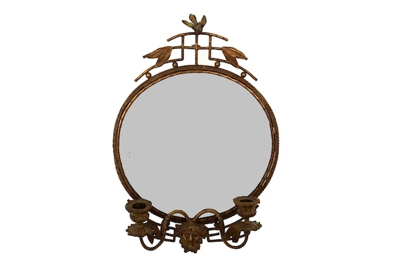 Antique Brass Wall Mirror with Candle Sconces, French Candleholders with Faux Bamboo, Bird and Mask Face